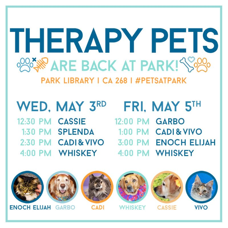 Therapy Pets Spring 2017 Schedule