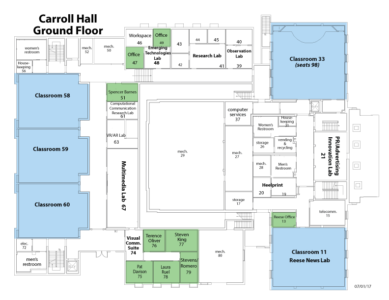 Map of Carroll Hall Ground Floor