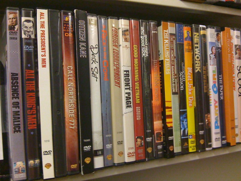 Photograph of DVDs available in the Park Library