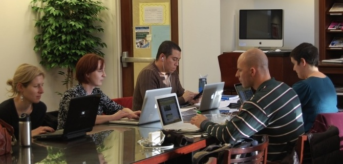 Students working in the Park Library