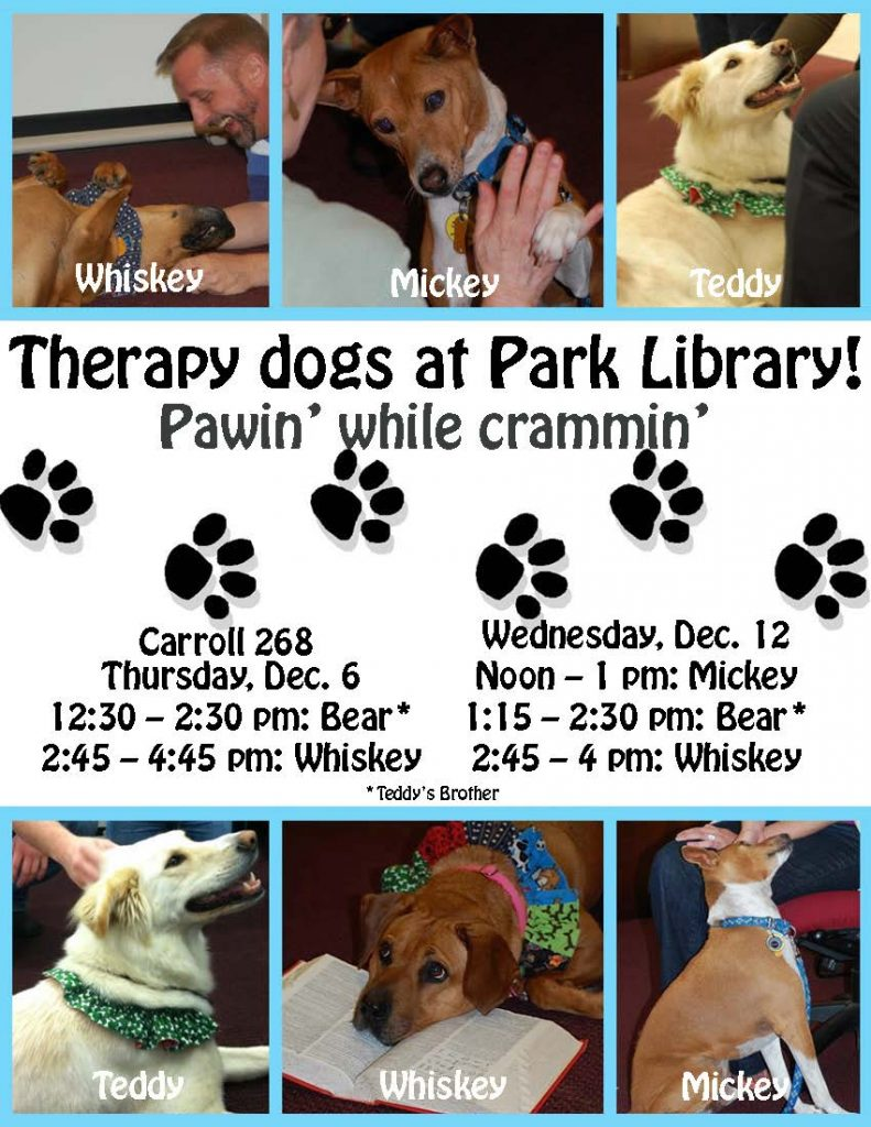 Fall 2012 Therapy Pets Schedule