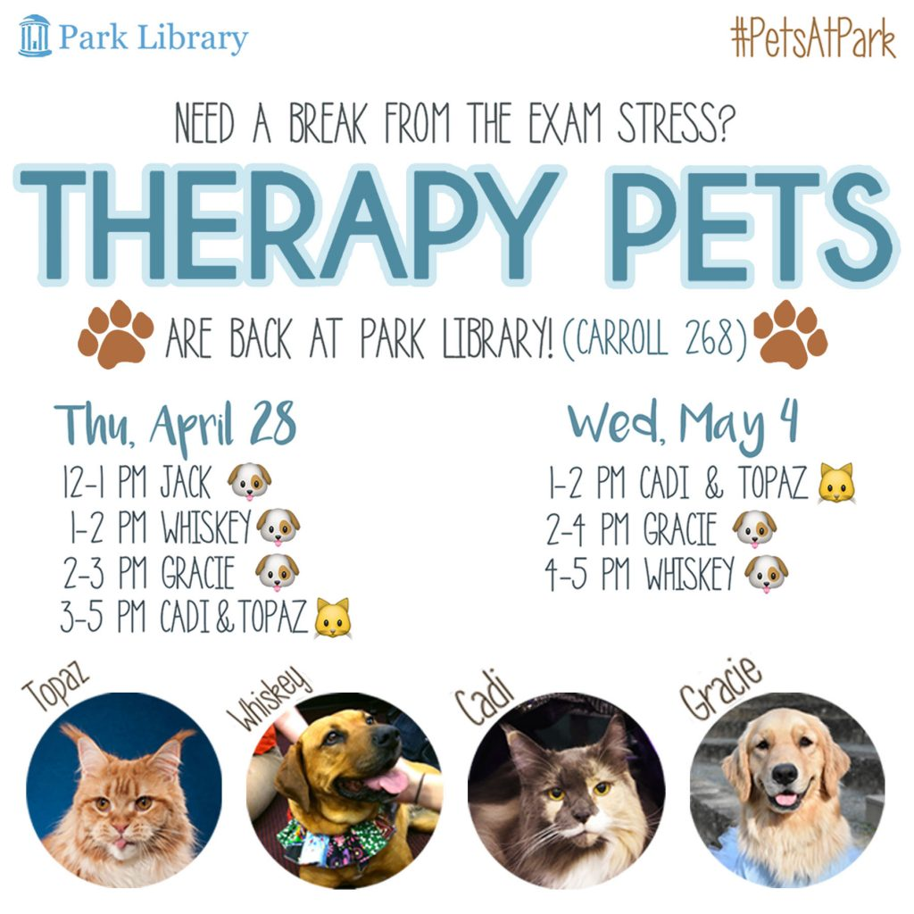 Spring 2016 Therapy Pets Schedule