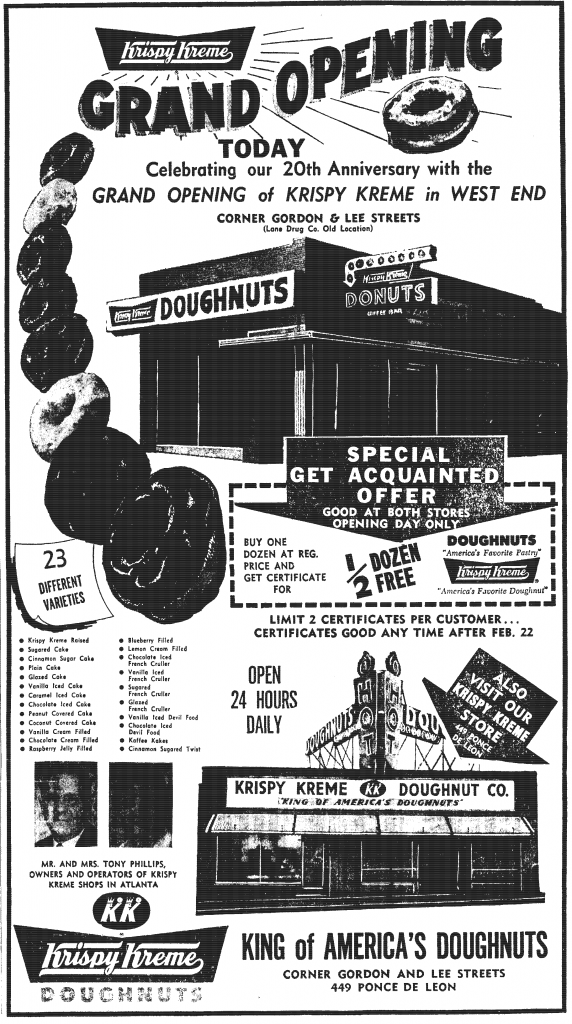 Large newspaper ad for a new Krispy Kreme store opening in West End, Atlanta.