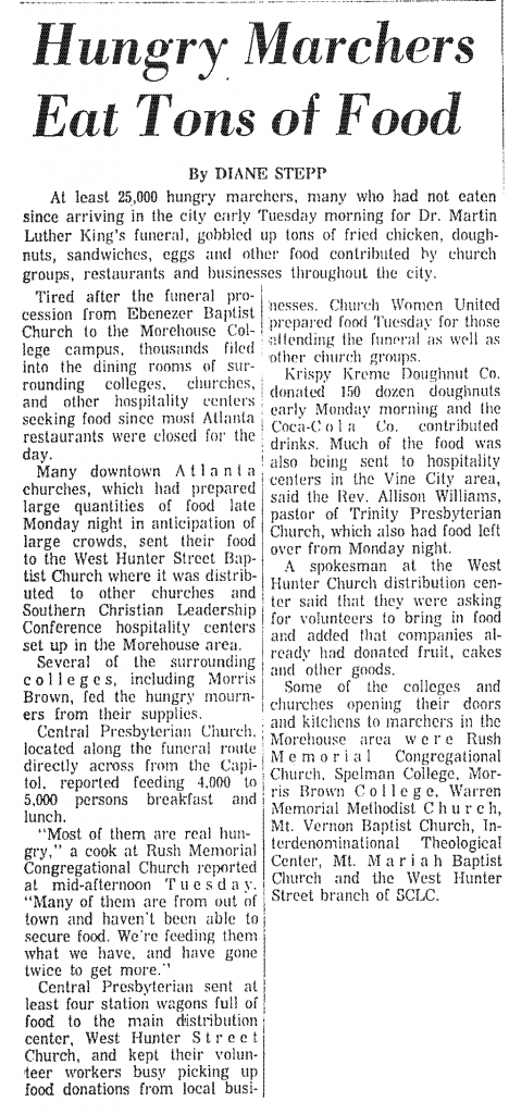 Newspaper article from the April 10, 1968 Atlanta Constitution about efforts to feed marchers in the city for Dr. Martin Luther King, Jr.'s funeral.
