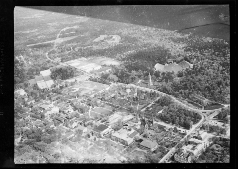 Aerial view of UNC campus from Cameron Avenue to South Road in 1942.