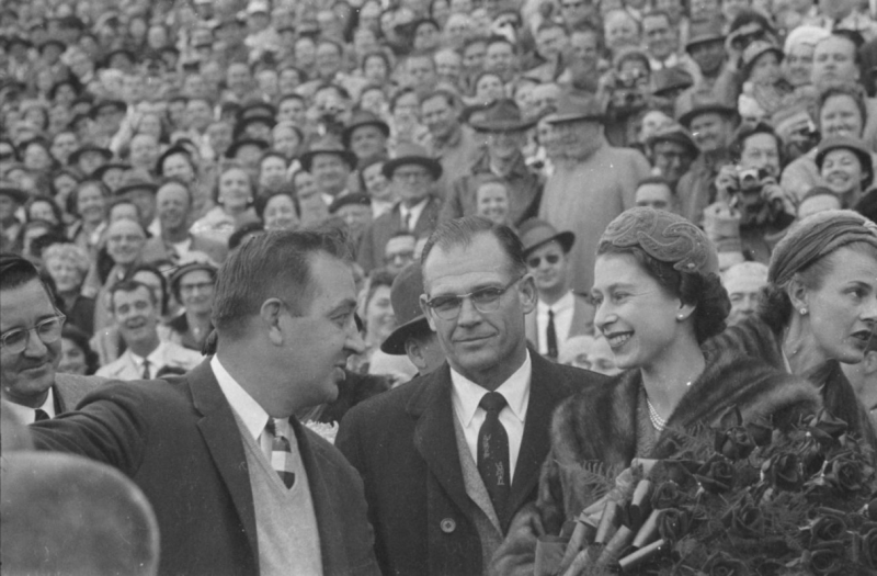 Queen Elizabeth II attends a UNC vs Maryland football game.
