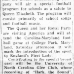Article about a BBC broadcast of UNC school and football songs in honor of the Queen's visit