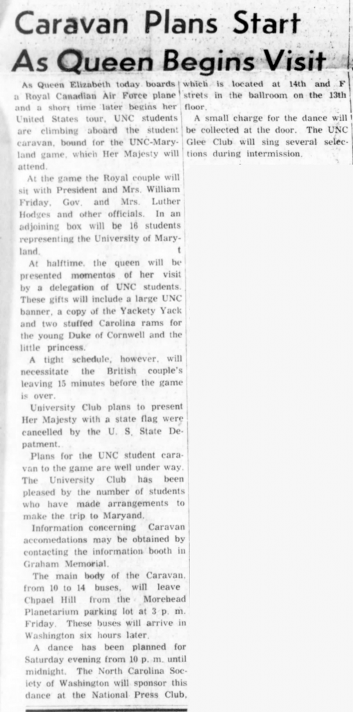 Article about UNC students traveling to Maryland to see Queen Elizabeth II.