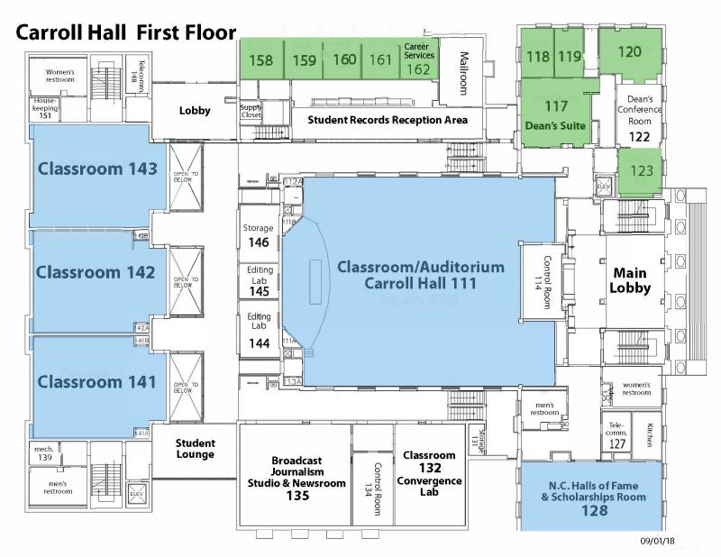 Map of Carroll Hall First Floor