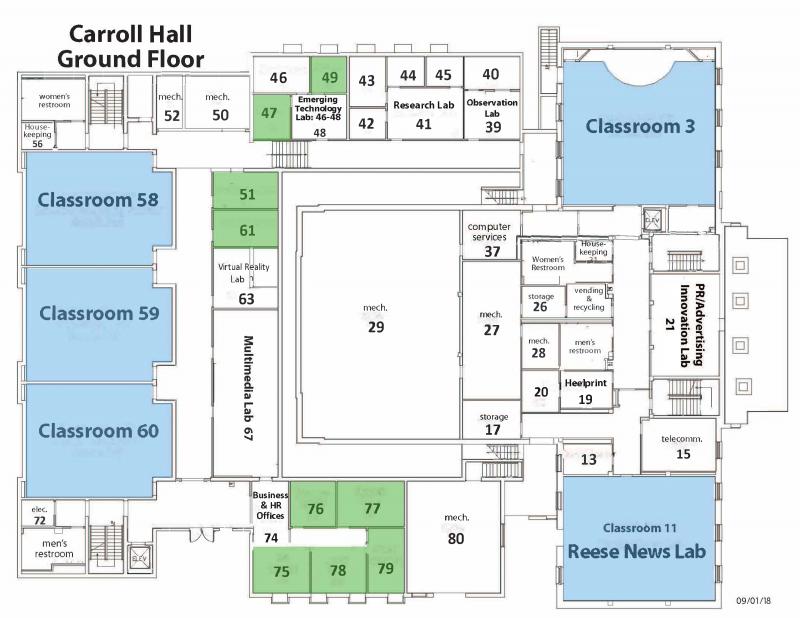 Map of Carroll Hall Ground Floor