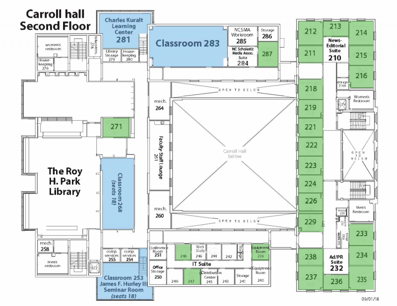 Map of Carroll Hall Second Floor