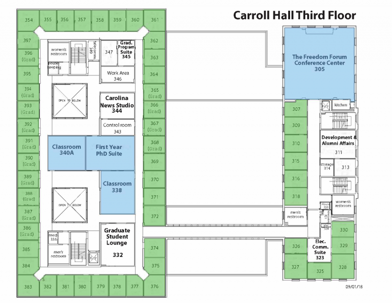 Map of Carroll Hall Third Floor